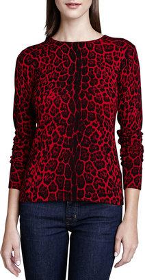Neiman Marcus Leopard-Print Cashmere Sweater