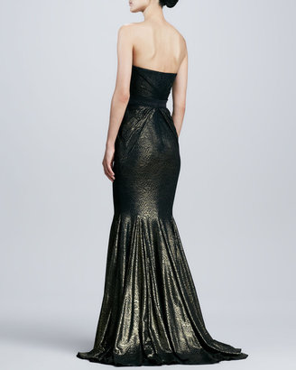 Badgley Mischka Strapless Brocade Mermaid Gown