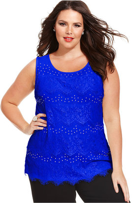 Style&Co. Plus Size Top, Sleeveless Lace Studded Tank