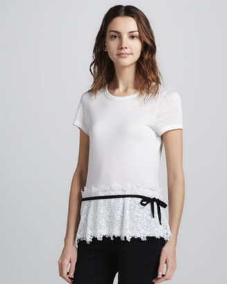 RED Valentino Lace-Bottom Tee