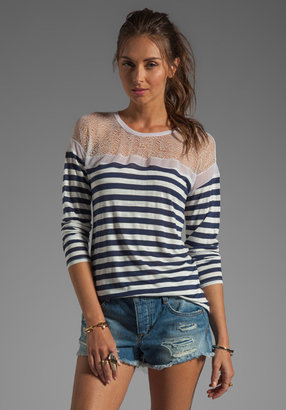 BCBGMAXAZRIA Striped Long Sleeve Top in Pacific Blue/White Combo