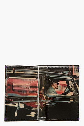 Paul Smith Black Polished Leather Taxi Driver Print Vertical Wallet