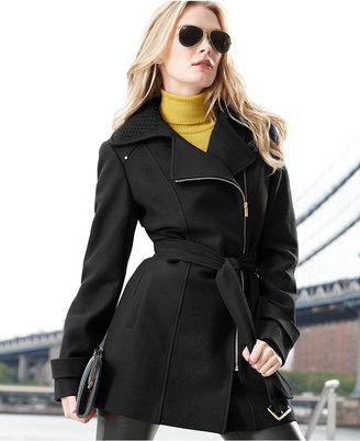Kenneth Cole Reaction Coat, Wool-Blend Zipper Trench Coat