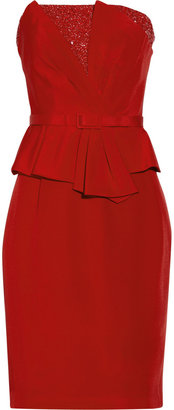 Mikael Aghal Embellished silk peplum dress