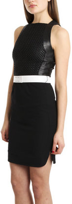 L'Agence Chain Link Leather Bodice Dress
