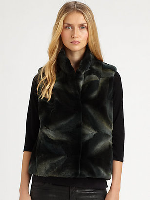 Saks Fifth Avenue Collection Sheared Coyote Vest