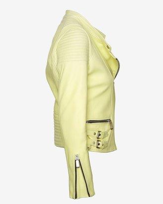 Barbara Bui Moto Leather Jacket: Lemon