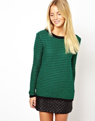 Asos Jumper In Stitch With Back Detail
