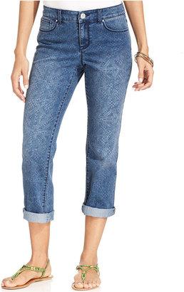 Style&Co. Petite Jeans, Printed Capri, Dockside Trellis Wash