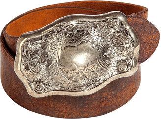 Ralph Lauren Distressed Brown Engraved Plaque Buckle Belt