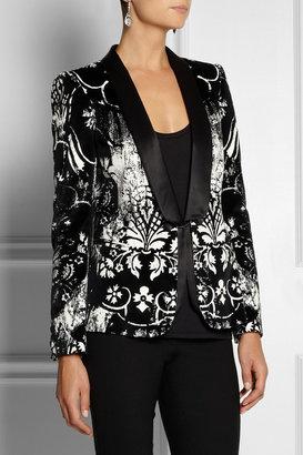 Roberto Cavalli Printed velvet tuexedo blazer
