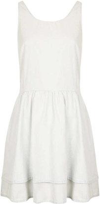 Topshop MOTO White Denim Lattice Dress