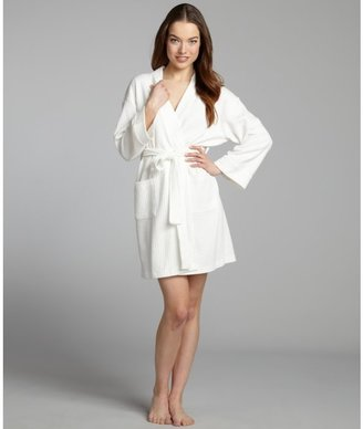 Aegean Apparel white waffle knit cotton blend belted robe