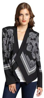 BCBGMAXAZRIA black and white textured paisley print draped 'Abree' jacket