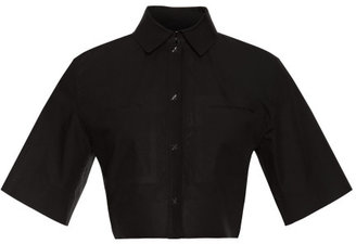 Alexander Wang Cropped Short Sleeve Button Up With Welded Pockets