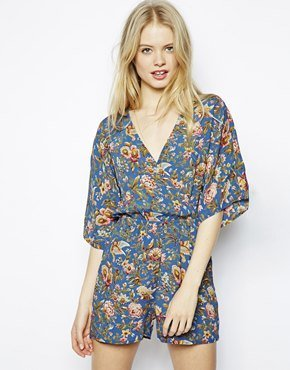 Asos Floral Playsuit With Kimono Sleeves - Blue