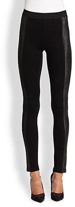 BCBGMAXAZRIA Coated-Panel Leggings