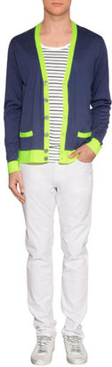 Marc by Marc Jacobs Estate Blue/Neon Lime Silk-Cotton-Cashmere Cardigan