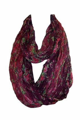 Tolani Floral Infinity Scarf in Wine