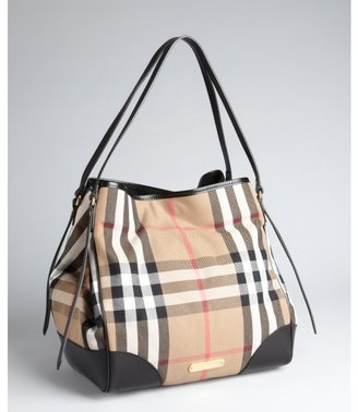 Burberry black, taupe, and white check canvas & leather tote