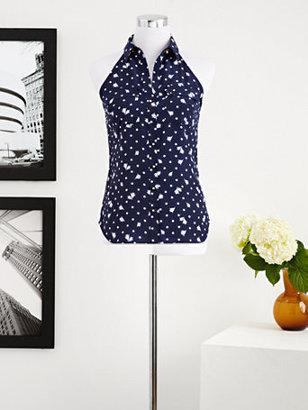 New York & Co. Eva Mendes Collection - Hannah Halter Top - Polka-Dot Rose Print
