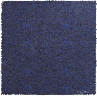 Oscar de la Renta Feather-Print Square Scarf, Marine Blue