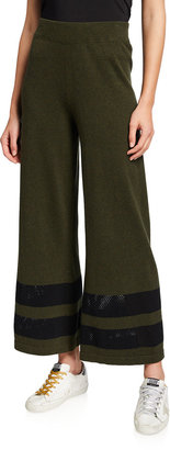 LISA TODD Wide-Leg Pull-On Pants with Mesh Stripe Inserts