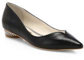 Webster Sophia Loca Leather Striped-Heel Skimmers