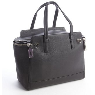 Salvatore Ferragamo black grained leather 'Ariana' satchel bag