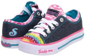 Skechers Much Love Lights 10248L (Toddler/Youth) (Denim/Pink) - Footwear
