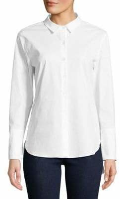 Isaac Mizrahi IMNYC Poplin Back Tie Button-Down Shirt