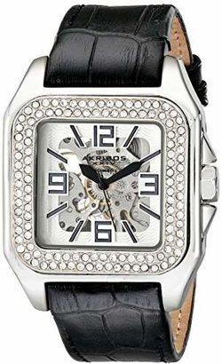 Akribos XXIV Women's AK520SS Square Crystal Skeleton Automatic Watch