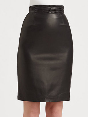 L'Agence Pleated Leather Skirt