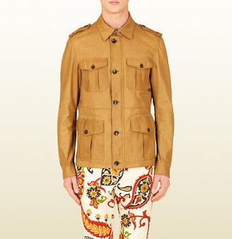 Gucci Dark Beige Leather Safari Jacket