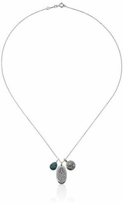 Satya Jewelry Classics Sterling Silver Turquoise Hamsa Lotus Necklace (18-Inch)