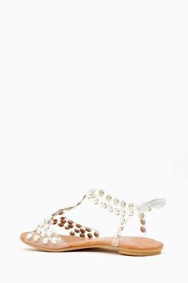 Nasty Gal Puffer Studded Sandal - Pearl