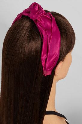 Jennifer Behr Bow-detailed silk-satin headband