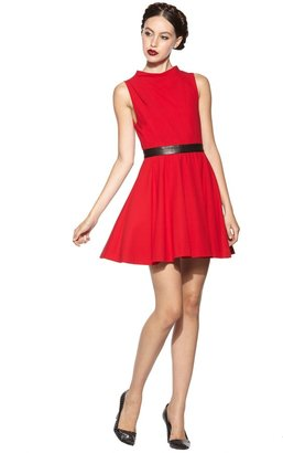 Alice + Olivia Alma Flare Skirt Dress With Leather
