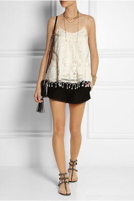 Kate Moss for Topshop Embroidered tulle and crocheted lace camisole