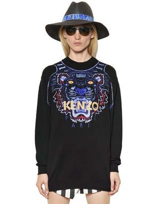 Kenzo Tiger Embroidered Cotton Sweater