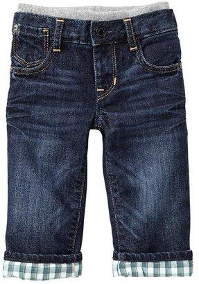 Gap Plaid-lined knit-waist straight jeans