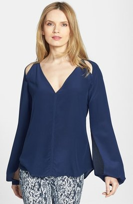 Rachel Roy Cutout Detail Split Sleeve Silk Blouse