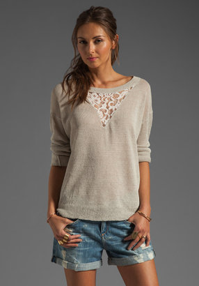 Haute Hippie Pullover Sweatshirt with Lace Inset