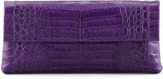 Nancy Gonzalez Medium Soft Flap Crocodile Clutch Bag, Purple
