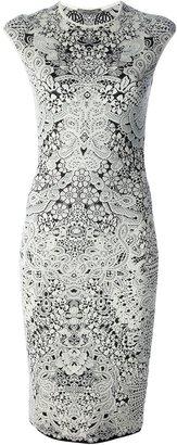 Alexander McQueen jacquard floral lace skater dress
