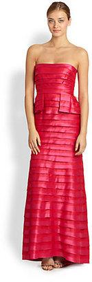 BCBGMAXAZRIA Rose Strapless Tiered Gown