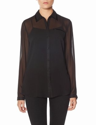 The Limited Faux Leather Trim Sheer Blouse