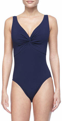 Karla Colletto Twist-Front Underwire One-Piece Swimsuit $255 thestylecure.com