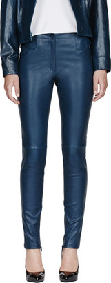 Thierry Mugler Peacock Blue Patent Leather High Waist Stretch Leggings
