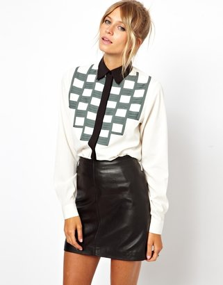 Asos Shirt With Pleated Bib In Colourblock